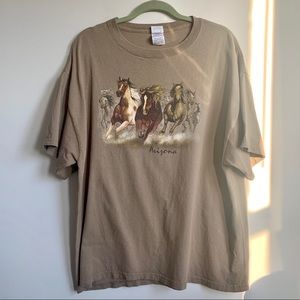 Vintage | Horses Graphic Short Sleeve Tan T Shirt
